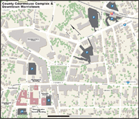 Close up map of streets surrounding Courthouse Complex/Morris County, NJ GIS offices, Morristown, NJ